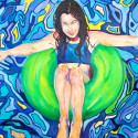 water, girl floating, oil painting, blues
