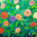 dahlias, oil painted flowers, florals